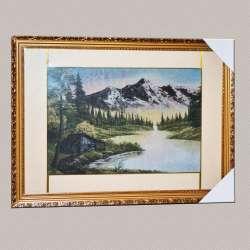 Картина гобелен під склом будиночок на березі озера в горах