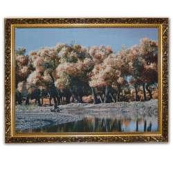 Картина гобелен рама з квітами 57х77 ліс біля озера