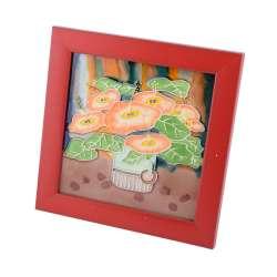 Картина настольная керамика эмаль букет цветов красная рамка 19х19х1,5 см