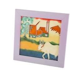Картина настольная керамика эмаль вол фиолетовая рамка 19х19х1,5 см