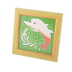 Картина настольная керамика эмаль дельфин бежевая рамка 19х19х1,5 см