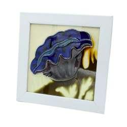 Картина настольная керамика эмаль фиолетовый цветок белая рамка 19х19х1,5 см
