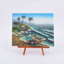 Картина настольная объемная на мольберте 18 х 22 см Морской берег