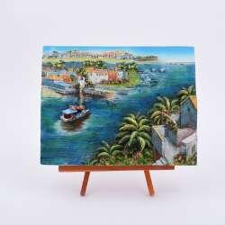 Картина настольная объемная на мольберте 18 х 22 см Катер в море