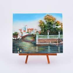 Картина настольная объемная на мольберте 18 х 22 см Лодки в заливе