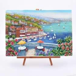 Картина настольная объемная на мольберте 24 х 33 см Город у моря