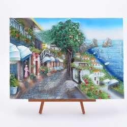 Картина настольная объемная на мольберте 24 х 33 см Дорога вдоль моря