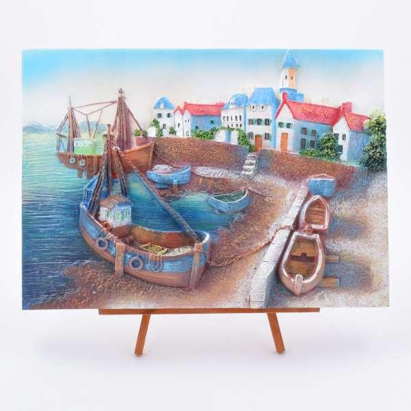 Картина настольная объемная на мольберте 24 х 33 см Лодки в заливе