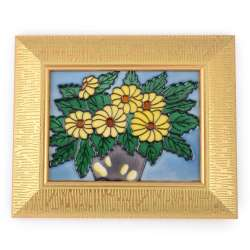 Картина керамика эмаль букет подсолнухов золотистая рама 28х23х2,5 см