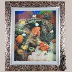 Картина аквариум с подсветкой 60х70 см кораллы оранжевые