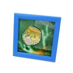 Картина настольная керамика эмаль медуза синяя рамка 13х13х1,5 см