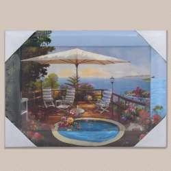 Картина Тераса з басейном біля моря, 34 х 47см