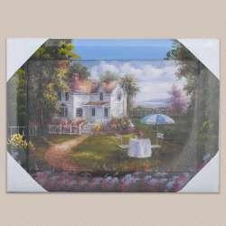 Картина Стіл з парасолькою біля будинку, 34 х 47см