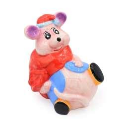 Скарбничка керамічна мишка з мішком червоним 14х13х11 см