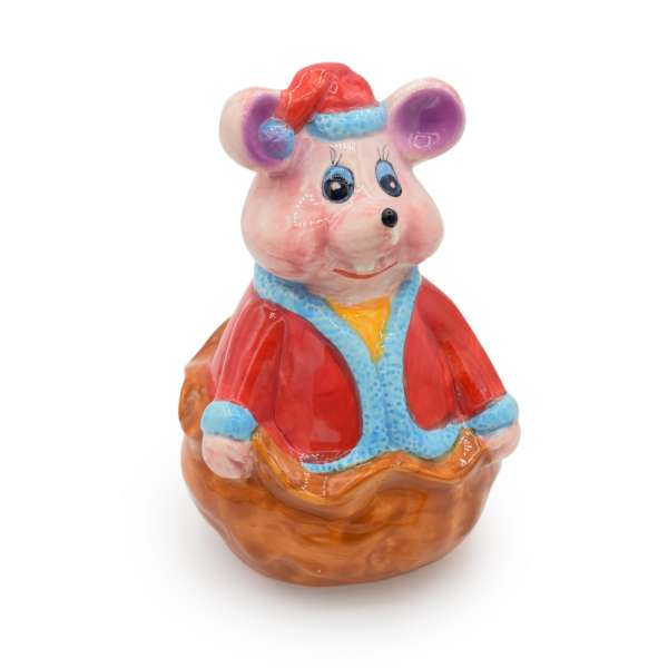 Скарбничка керамічна мишка в кошику коричневої 16х11х11 см