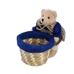 Корзинка для рукоделия соломенная 10х10х8 см с мишкой девочкой 14 см
