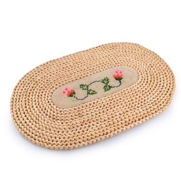 коврик солом. овальный с вышивкой 30х45