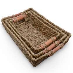 Набор корзин плетеные 3 шт. прямоугольные деревянные ручки 27х17х8 см, 31х21х9 см, 35х24х10,5 см