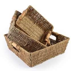 Набор корзин плетеные 3 шт. квадратные деревянные ручки 21х21х7 см, 25х25х8 см, 29х29х9 см