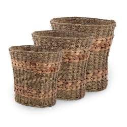 Набор корзин плетеные 3 шт. высокие 23х18х25 см, 26х21х27см, 29х23х29 см
