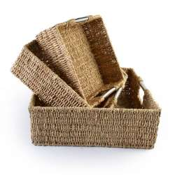 Набор корзин плетеные 3 шт. квадратные металлические ручки 29х29х11см, 34х34х13 см, 40х40х15 см
