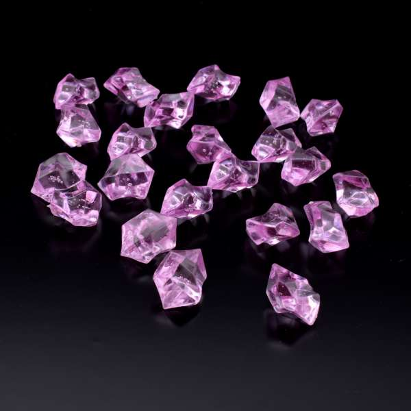 Кристаллы акрил 1,5x1,5x2,5 см сиреневые уп 180 шт