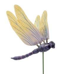 Декор для рослин на металевому стрижні бабка фіолетово-жовта