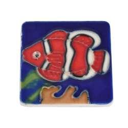 Магнит сувенирный керамика глазурь 6 х 6 см рыба клоун