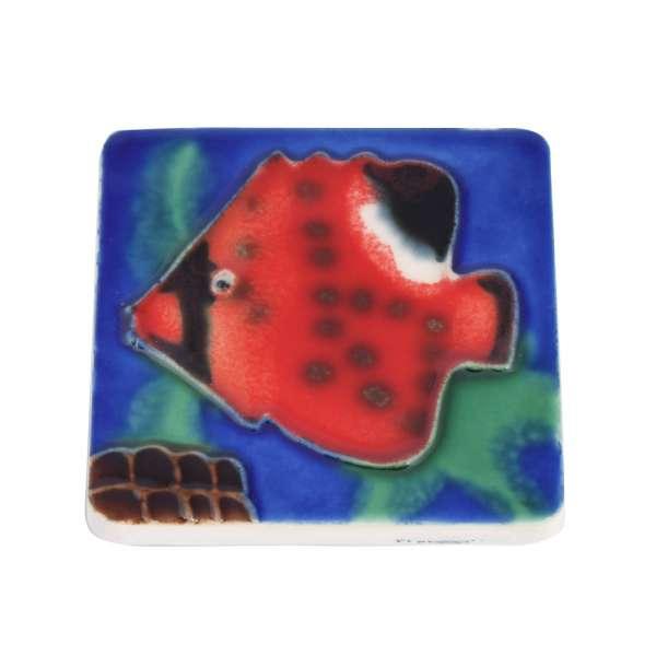 Магнит сувенирный керамика глазурь 6 х 6 см рыба красная