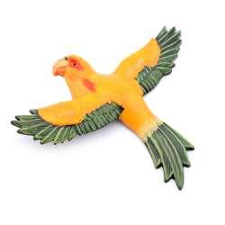 Магнит на холодильник Попугай 13х11см желтый с зелеными крыльями