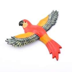 Магнит на холодильник Попугай 13х11см Попугай красный с пестрыми крыльями