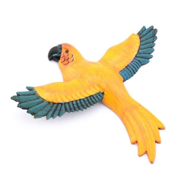 Магнит на холодильник Попугай 13х11см Попугай желтый с синими крыльями