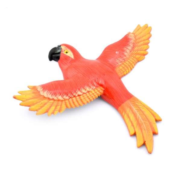 Магнит на холодильник Попугай 13х11см Попугай красный с оранжево-желтыми крыльями