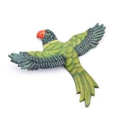 Магнит на холодильник Попугай 13х11см Попугай зеленый с пестрыми крыльями