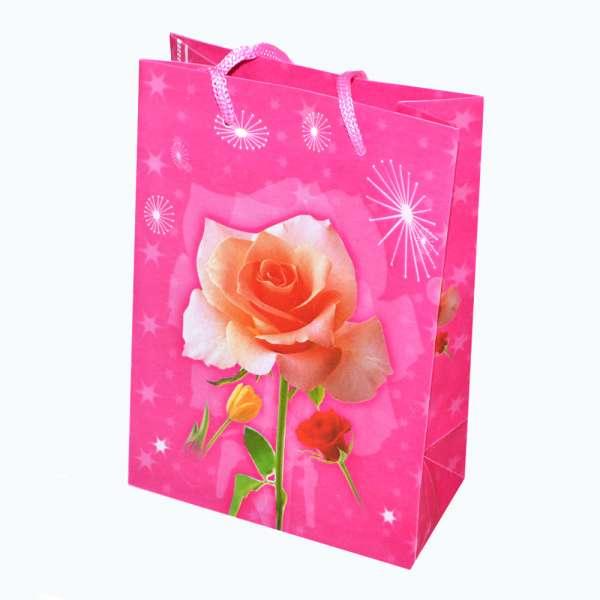 Пакет подарунковий 16х12х6 см з трояндою малиновий