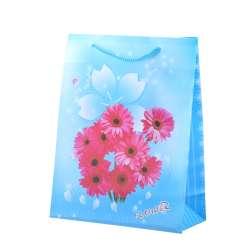 Пакет подарунковий 23х18х7,5 см з квітами рожевими блакитний