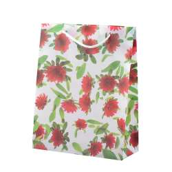 Пакет подарунковий 23х18х7,5 см з квітами червоними білий