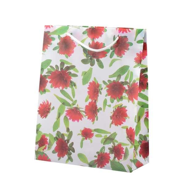 Пакет подарочный 23х18х7,5 см с цветами красными белый