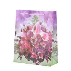 Пакет подарунковий 23х18х7,5 см з букетом рожевим бузковий