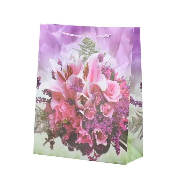 Пакет подарочный 23х18х7,5 см с букетом розовым сиреневый