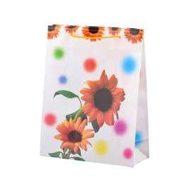 Пакет подарунковий 23х18х7,5 см з соняшниками жовтими білий