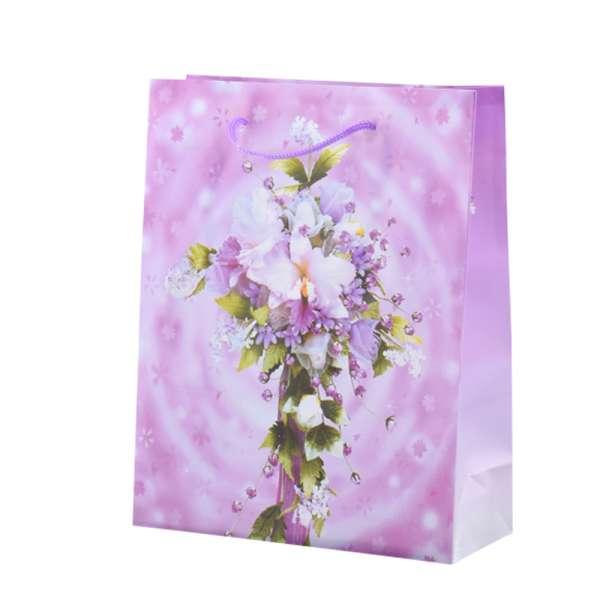 Пакет подарунковий 23х18х7,5 см з букетом ліліями бузковим бузковий