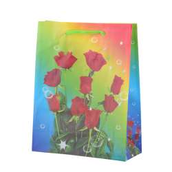 Пакет подарунковий 23х18х7,5 см з трояндами червоними райдужний