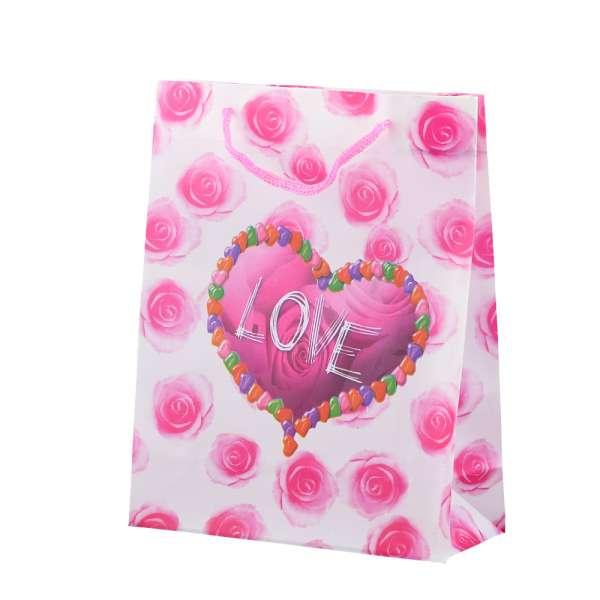 Пакет подарунковий 23х18х7,5 см з трояндами рожевими LOVE білий