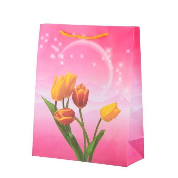 Пакет подарочный 23х18х7,5 см с тюльпанами желтыми розовый