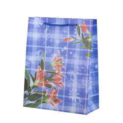 Пакет подарунковий 23х18х7,5 см в клітку з червоними ліліями синій