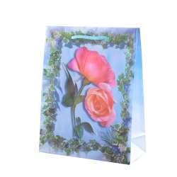 Пакет подарунковий 23х18х7,5 см з трояндами блакитний