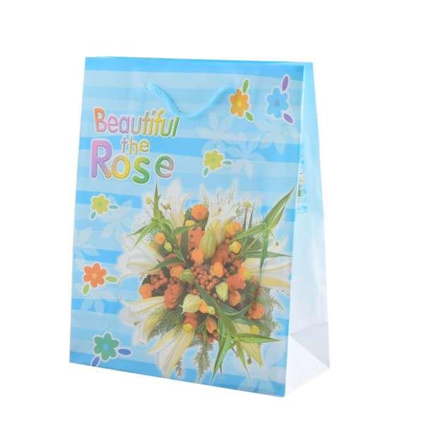 Пакет подарочный 23х18х7,5 см в полоску Beautiful The Rose голубой