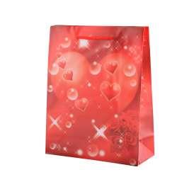 Пакет подарунковий 23х18х7,5 см з серцем і трояндами червоний