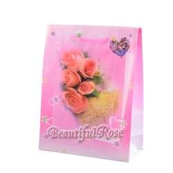 Пакет подарунковий 23х18х7,5 см з трояндами Beautiful Rose рожевий